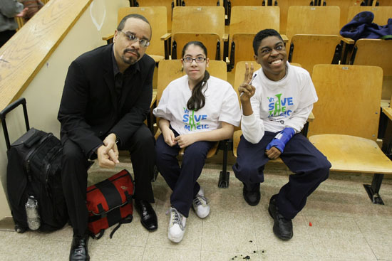 Ice T and students from City College Academy of Arts in NY