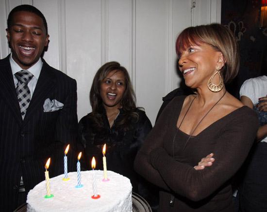 Nick Cannon, Shanti Das and Sylvia Rhone // Sylvia Rhone's surprise birthday party at Norwood