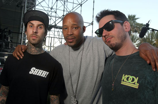 Travis Barker, Warren G & DJ AM backstage at Day 2 of the Coachella Festival (Apr. 18th 2009)