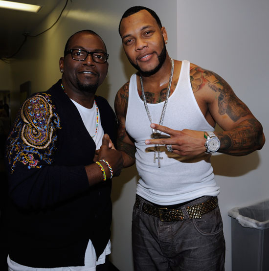 Randy Jackson & Flo Rida backstage at a live taping of American Idol