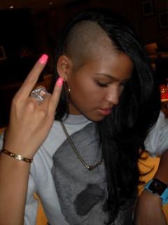 """Cassie\'s new """"halfway bald"""" hair-do"""