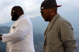 """Rick Ross & The Dream on the set of Rick Ross' """"All I Really Want"""" music video"""