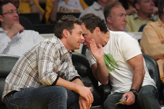 Ryan Seacrest & Harvey Levin (of TMZ) // Lakers vs. Jazz basketball game (Apr. 19th 2009)