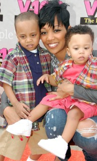Monica and her sons Lil Rocko and Romelo // AT&T store opening in Atlanta
