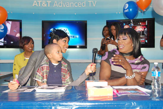 Monica, Lil Rocko and V103's Miss Sophia // AT&T store opening in Atlanta