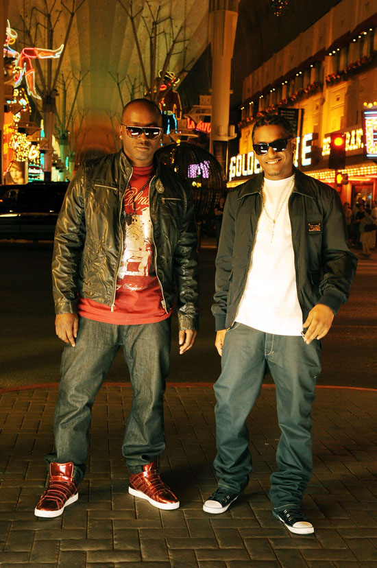 "Mr. Smilez & Lloyd on the set of ""Nite Life"" video in downtown Las Vegas, NV"