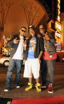 "Lloyd, Wuz Good & Mr. Smilez on the set of ""Nite Life\"" video in downtown Las Vegas, NV"