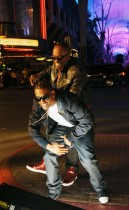 "Mr. Smilez & Lloyd on the set of ""Nite Life\"" video in downtown Las Vegas, NV"