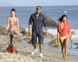 "Trey Songz on the set of ""I Need A Girl"" music video"