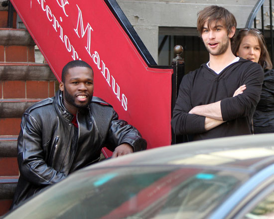 50 Cent aka Curtis Jackson & Chase Crawford on the set of Twelve in NYC (Apr. 27th 2009)