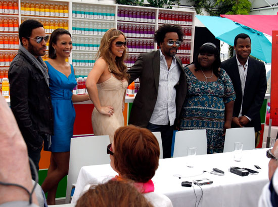 Lenny Kravitz, Paula Patton, Mariah Carey, Lee Daniels, actress Gabourey Sidibe and writer Damien Paul // Precious Luncheon at 2009 Cannes Film Festival