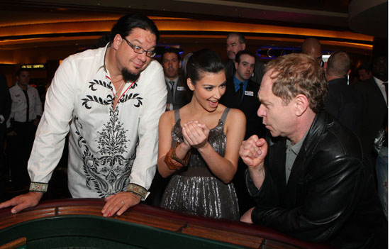 Kim Kardashian with Penn & Teller // Dash Miami Store Opening Afterparty at Clevelander Hotel