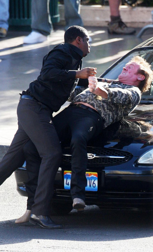 Diddy fight scene with Colm Meany in Vegas for new movie: Get Him to the Greek (May 12th 2009)