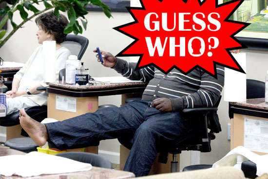Guess Who?!: Pampering Himself at a Beverly Hills Beauty Salon