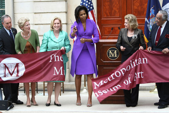 First Lady Michelle Obama, Mayor Michael R. Bloomberg, Met Museum President Emily Rafferty, Sen. Kirsten Gillibrand, Rep. Carolyn Maloney, and Rep. Charles Rangel // Metropolitan Museum of Art Ribbon Cutting Ceremony