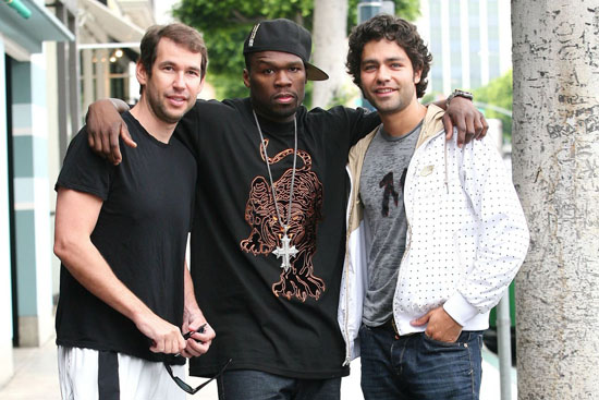 Doug Ellin, 50 Cent and Adrien Grenier on the set of HBO's Entourage in Los Angeles (June 12th 2009)
