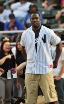 Justin Tuck of the New York Giants // 2009 Atlantic League All-Star Game and the Hot 97 vs. KISS-FM Celebrity Softball Showdown