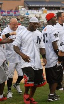 Thomas Jones of the New York Jets // 2009 Atlantic League All-Star Game and the Hot 97 vs. KISS-FM Celebrity Softball Showdown