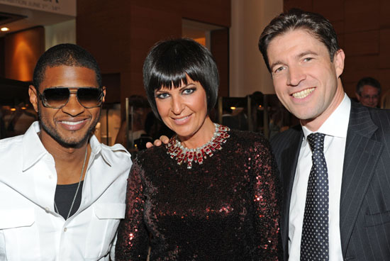 Usher, socialite Larissa Sadabash and President/CEO of Cartier North America Frederic de Narp // 100th Anniversary In America Celebration at the Cartier Boutique