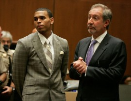 Chris Brown and his lawyer Mark Geragos in LA Superior Court (June 22nd 2009)