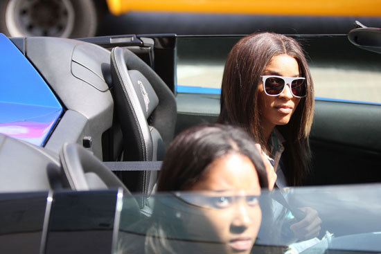 Ciara leaving LAX Airport in her blue Lamborghini (June 22nd 2009)