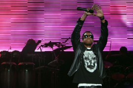 Jay-Z peforms at DJ Hero Launch