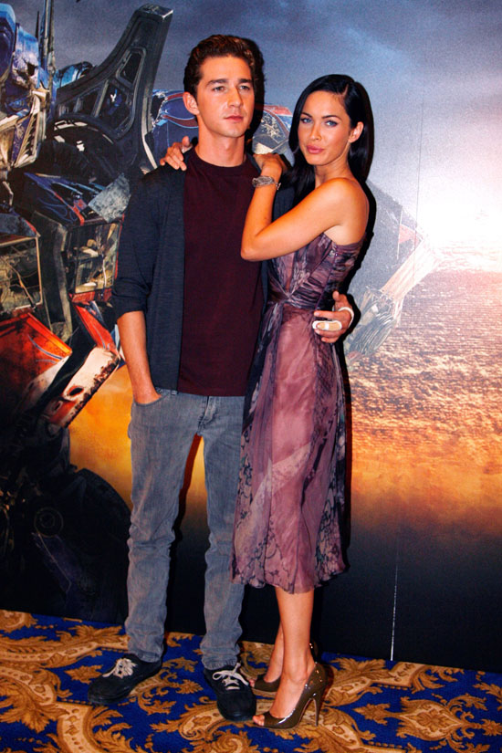 """Shia LeBeouf & Megan Fox at the photocall for """"Transformers: Revenge of the Fallen"""" in Paris, France"""