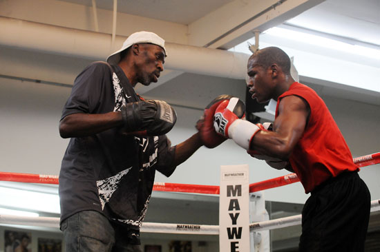 Floyd Jr's uncle/trainer Roger Mayweather & Floyd Mayweather Jr // Flag Day Celebration at Floyd Mayweather Jr's Las Vegas Boxing Gym