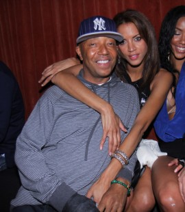 Russell Simmons & his girlfriend Noemie Lenoir // Jessica White\'s 25th Birthday Party at Mr. West in NYC