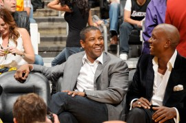 Denzel Washington & Tyrese // Laker vs. Magic Game (NBA Finals Game One) in Los Angeles - June 4th 2009