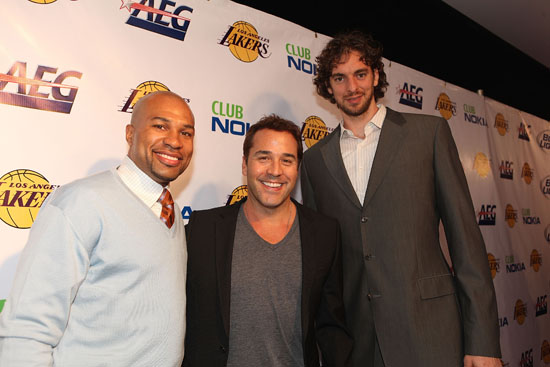 Derek Fisher of the Lakers, Actor Jeremy Piven and Paul Gasol of the Lakers // Los Angeles Lakers Victory Party at Club Nokia