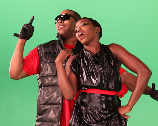 Busta Rhymes & Estelle on the set of World Go Round in New York City (June 15th 2009)