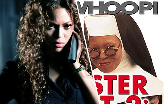 """Beyonce in """"Obsessed"""" // Whoopi Goldberg in """"Sister Act 2"""""""