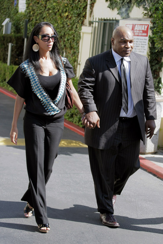 Mike Tyson & Lakiha Spicer leaving lunch at Cafe Med in Los Angeles (July 7th 2009)