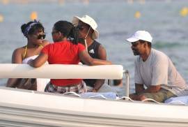 Denzel Washington and his kids at Nikki Beach in St. Tropez, France (July 4th 2009)