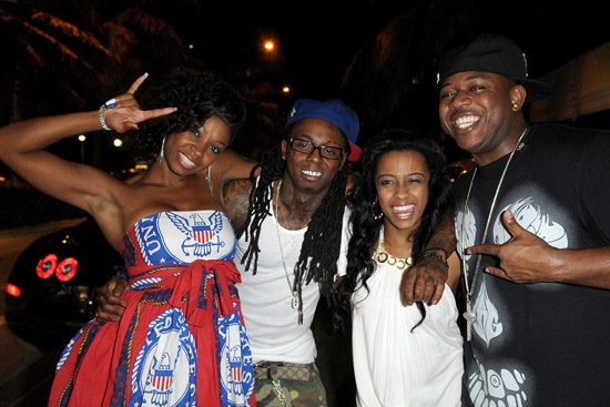 D. Woods, Lil Wayne, Shannell Woods and Mack Maine // D. Woods' Birthday Party at Ahnvee Restaurant & Lounge in South Beach Miami