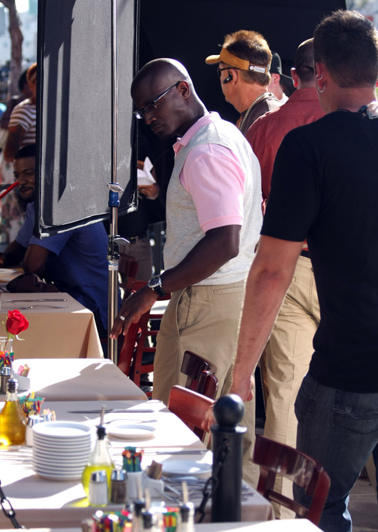 "Taye Diggs on location for ""Family Wedding"" at Clafoutis in Los Angeles, CA"