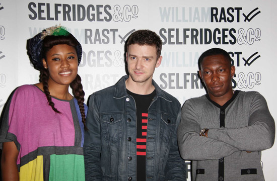 VV Brown, Justin Timberlake and Dizzee Rascal // William Rast New Denim Collection Launch at Selfridges