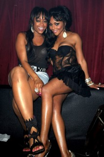 Trina & Lil Kim // Lil Kim's 34th Birthday Party at Mansion in Miami (July 23rd 2009)