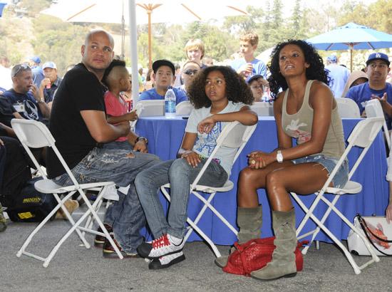 Stephen Belafonte, Angel Iris, Phoenix-Chi and Melanie Brown // Dodger's Day at Dodger Stadium in Los Angeles