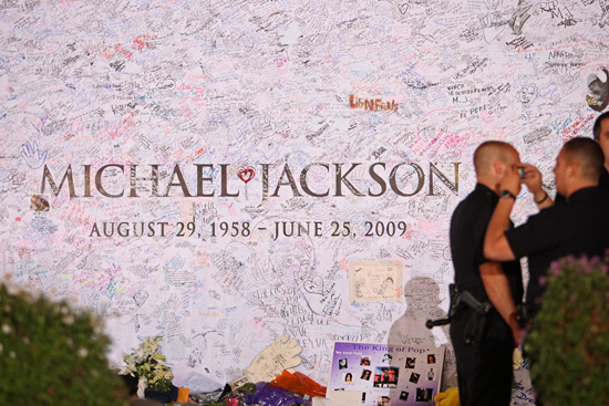 Michael Jackson memorial poster signed by fans outside of the Staples Center in Los Angeles