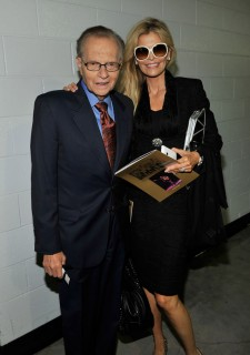 Larry King and his wife Shawn Southwick-King // Michael Jackson's Public Memorial (Backstage)