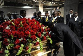 Usher and the Jackson Brothers with Michael Jackson's casket // Michael Jackson's Public Memorial (Backstage)