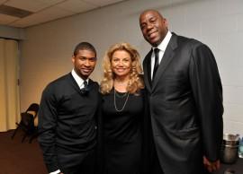 Usher, former Motown Exec. Suzanne de Passe and Magic Johnson // Michael Jackson's Public Memorial (Backstage)