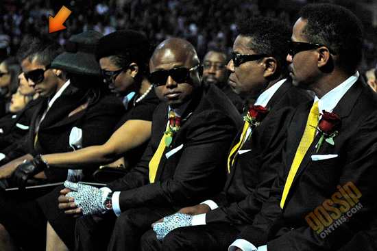 Michael Jackson's rumored fourth child sitting with the family at MJ's Memorial Service