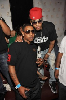 Nelly and his younger brother City Spud (of the St. Lunatics) at The Mirage\'s Jet Nightclub