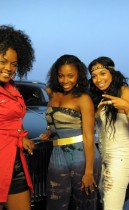 """Mika Means, D. Woods and Karlie Redd on the set of Rick Ross & Trina's """"Face"""" music video (July 6th 2009)"""