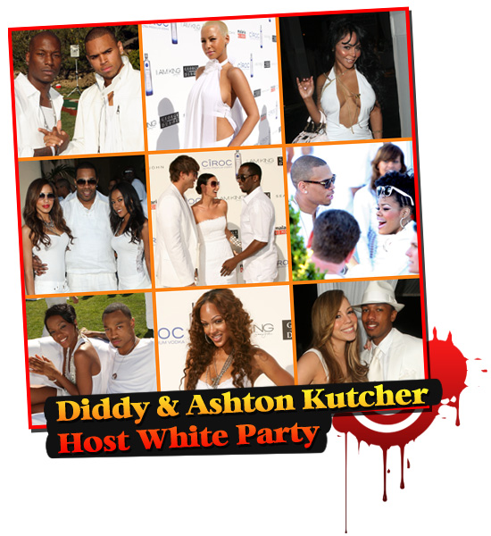 Diddy & Ashton Kutcher Host White Party