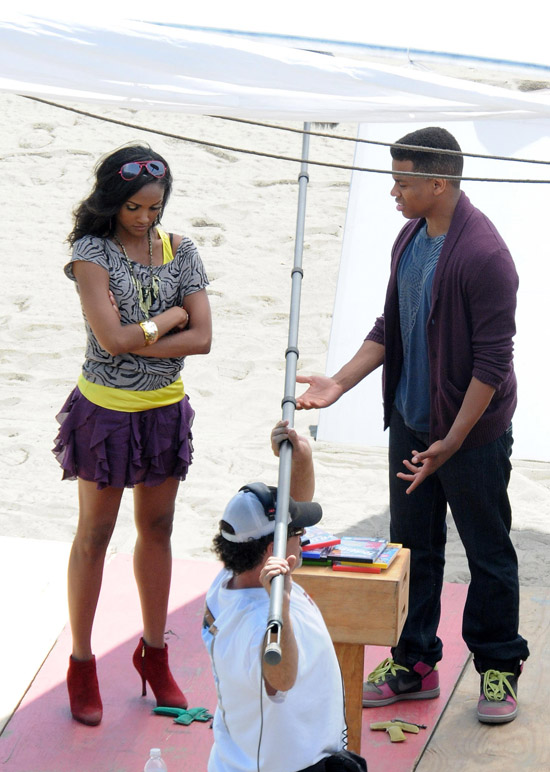 Tristan Wilds & Mekia Cox film a scene for 90210 in Los Angeles (August 4th 2009)