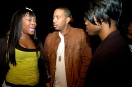 "Shawnna, Ludacris and Lil Duval on the set of a new music video for Ludacris and Shawnna's ""Battle of the Sexes"" album"
